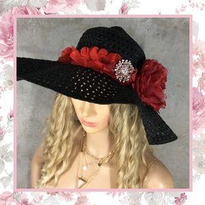 🌺 FLOPPY HAT FLOWER BLING FLORAL SUN BEACH ROSE